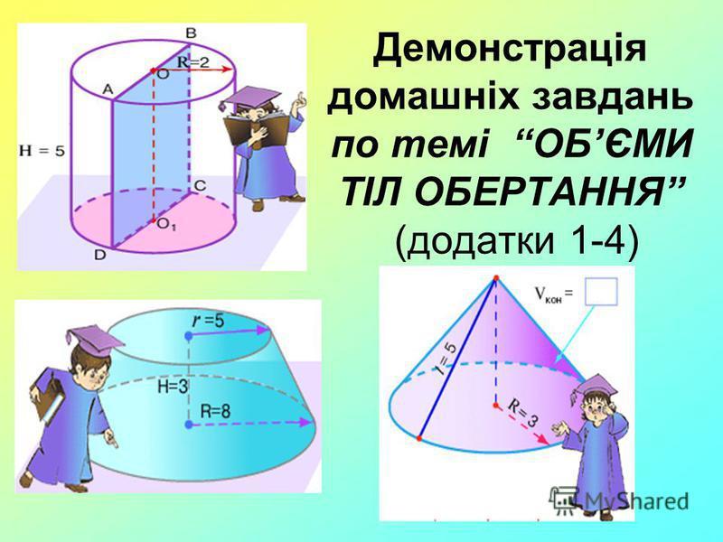 Демонстрація домашніх завдань по темі ОБЄМИ ТІЛ ОБЕРТАННЯ (додатки 1-4)