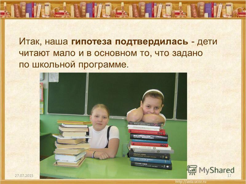 27.07.201517 Итак, наша гипотеза подтвердилась - дети читают мало и в основном то, что задано по школьной программе.