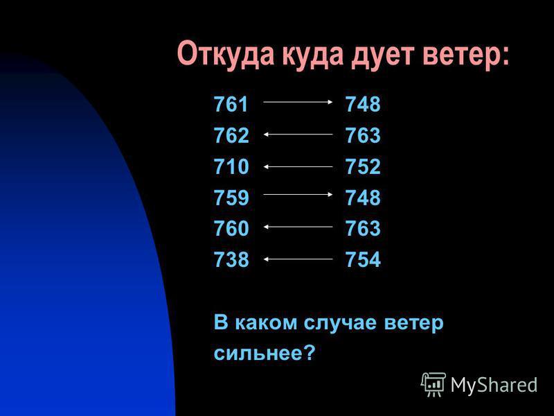 Откуда куда дует ветер: 761 748 762 763 710 752 759 748 760 763 738 754 В каком случае ветер сильнее?