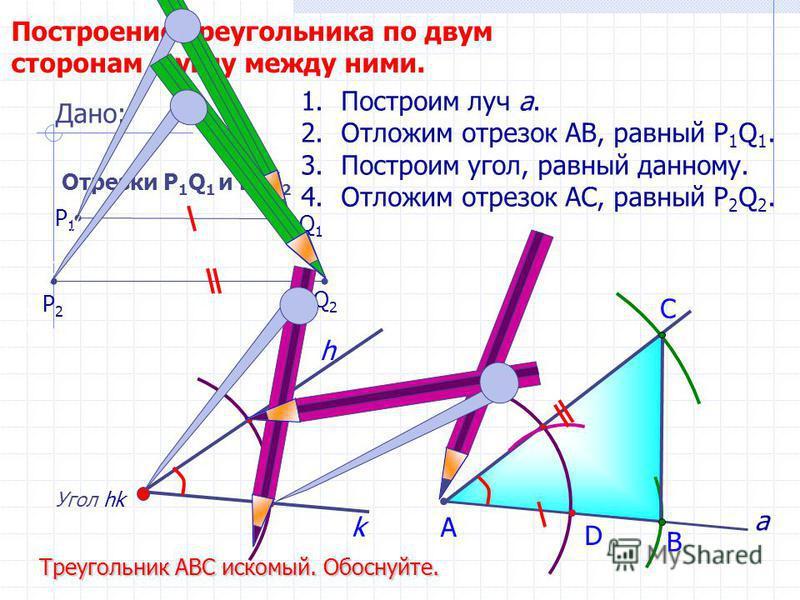 D С Построение треугольника по двум сторонам и углу между ними. Угол hk h 1. Построим луч а. 2. Отложим отрезок АВ, равный P 1 Q 1. 3. Построим угол, равный данному. 4. Отложим отрезок АС, равный P 2 Q 2. В А Треугольник АВС искомый. Обоснуйте. Дано: