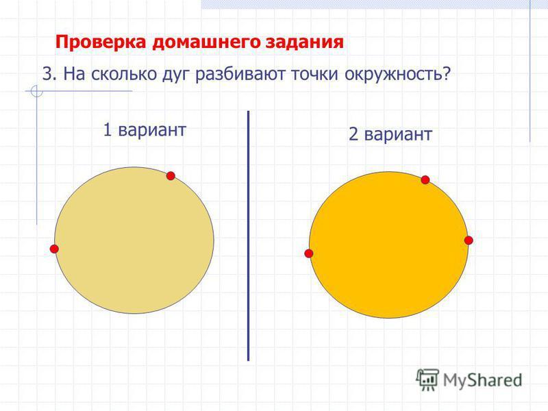 1 вариант 2 вариант 3. На сколько дуг разбивают точки окружность? Проверка домашнего задания