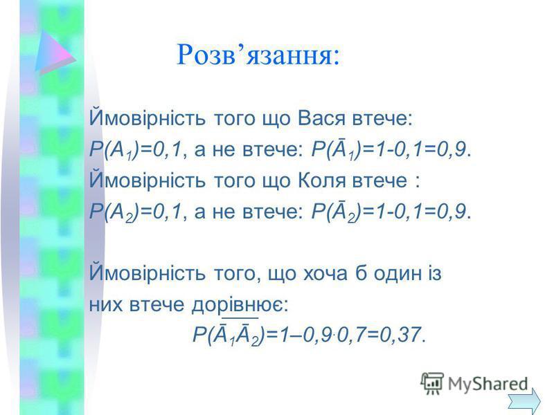 Розвязання: Ймовірність того що Вася втече: Р(А 1 )=0,1, а не втече: Р(Ā 1 )=1-0,1=0,9. Ймовірність того що Коля втече : Р(А 2 )=0,1, а не втече: Р(Ā 2 )=1-0,1=0,9. Ймовірність того, що хоча б один із них втече дорівнює: Р(Ā 1 Ā 2 )=1–0,9. 0,7=0,37.