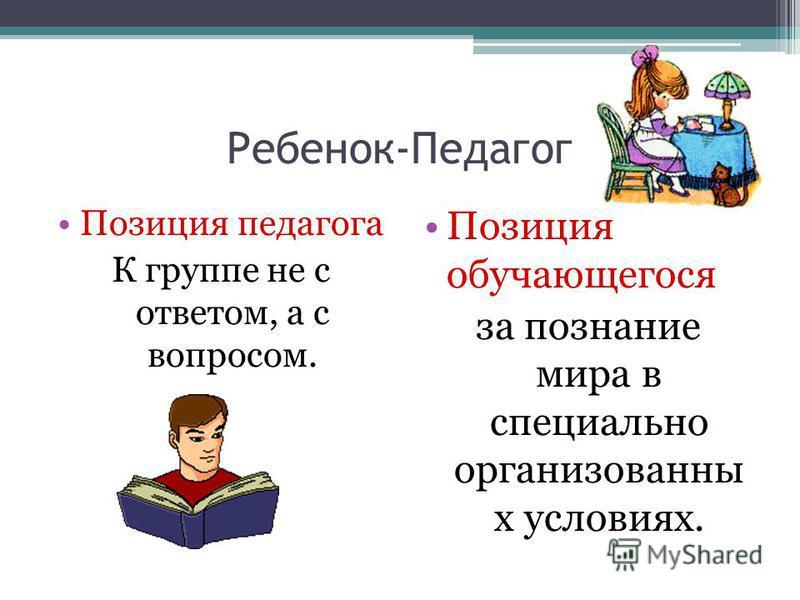 Ребенок-Педагог Позиция педагога К группе не с ответом, а с вопросом. Позиция обучающегося за познание мира в специально организованны х условиях.
