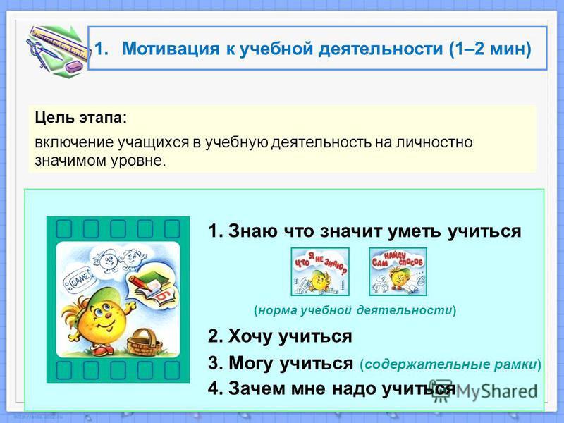 1. Мотивация к учебной деятельности (1–2 мин) Цель этапа: включение учащихся в учебную деятельность на личностно значимом уровне. 1. Знаю что значит уметь учиться (норма учебной деятельности) 2. Хочу учиться 3. Могу учиться (содержательные рамки) 4.