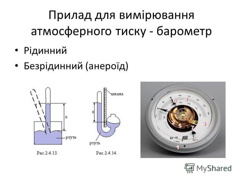 Прилад для вимірювання атмосферного тиску - барометр Рідинний Безрідинний (анероїд)