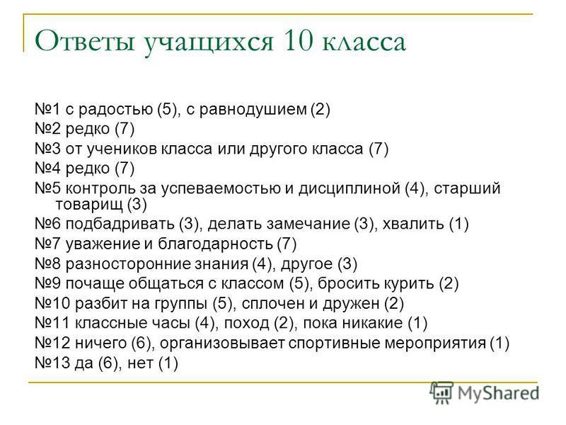 Ответы учащихся 10 класса 1 с радостью (5), с равнодушием (2) 2 редко (7) 3 от учеников класса или другого класса (7) 4 редко (7) 5 контроль за успеваемостью и дисциплиной (4), старший товарищ (3) 6 подбадривать (3), делать замечание (3), хвалить (1)