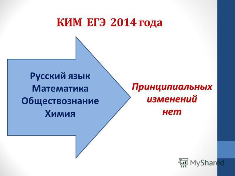 КИМ ЕГЭ 2014 года Русский язык Математика Обществознание Химия Принципиальных изменений нет