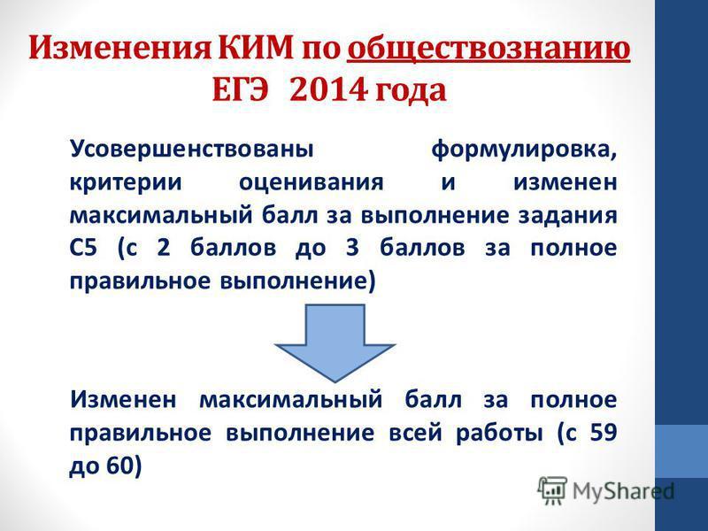 Изменения КИМ по обществознанию ЕГЭ 2014 года Усовершенствованы формулировка, критерии оценивания и изменен максимальный балл за выполнение задания С5 (с 2 баллов до 3 баллов за полное правильное выполнение) Изменен максимальный балл за полное правил
