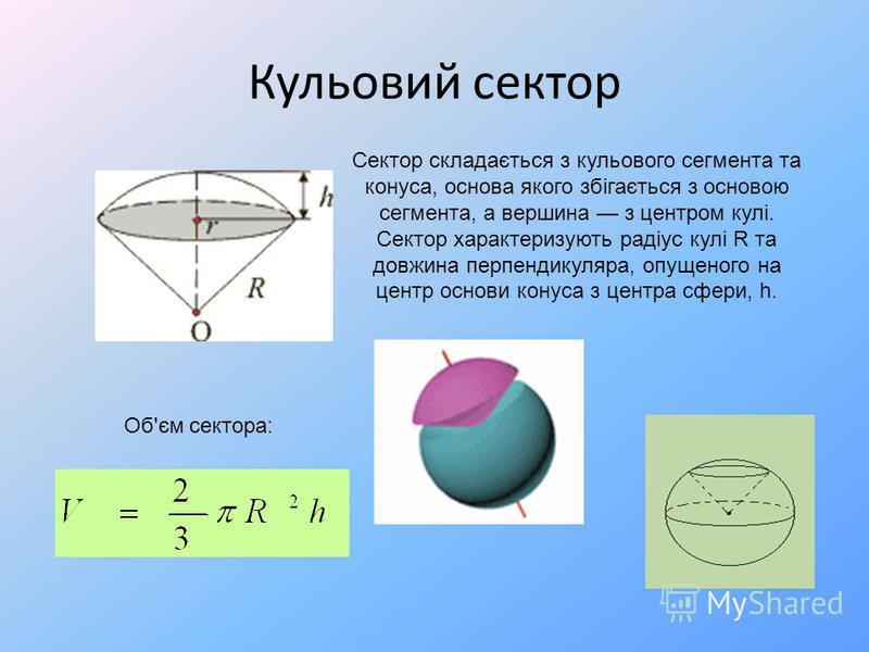 Кульовий сектор Сектор складається з кульового сегмента та конуса, основа якого збігається з основою сегмента, а вершина з центром кулі. Сектор характеризують радіус кулі R та довжина перпендикуляра, опущеного на центр основи конуса з центра сфери, h