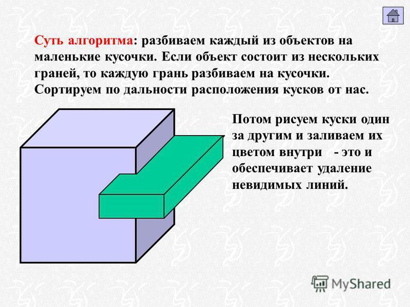 Суть алгоритма: разбиваем каждый из объектов на маленькие кусочки. Если объект состоит из нескольких граней, то каждую грань разбиваем на кусочки. Сортируем по дальности расположения кусков от нас. Потом рисуем куски один за другим и заливаем их цвет