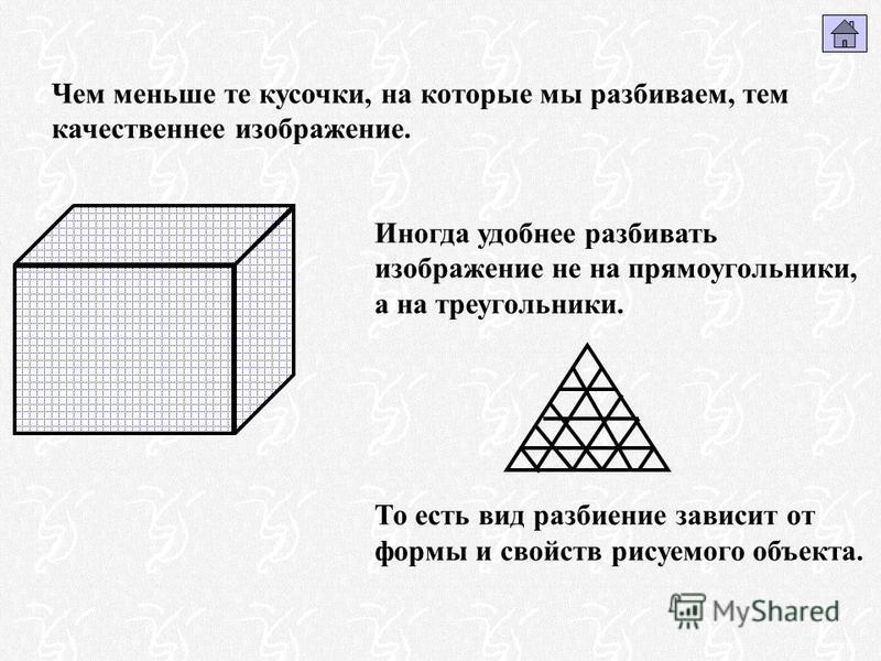 Чем меньше те кусочки, на которые мы разбиваем, тем качественнее изображение. Иногда удобнее разбивать изображение не на прямоугольники, а на треугольники. То есть вид разбиение зависит от формы и свойств рисуемого объекта.