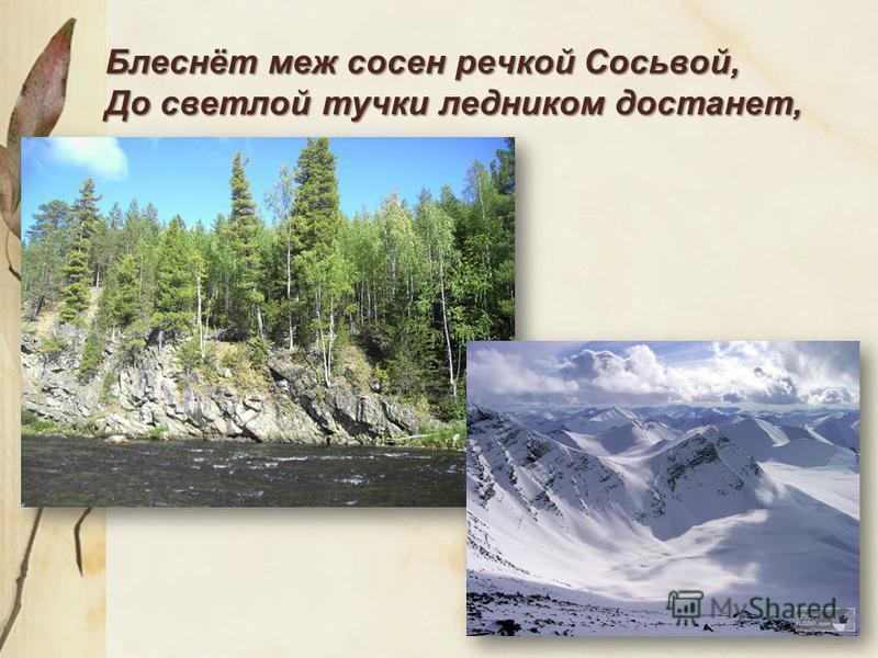 Блеснёт меж сосен речкой Сосьвой, До светлой тучки ледником достанет,