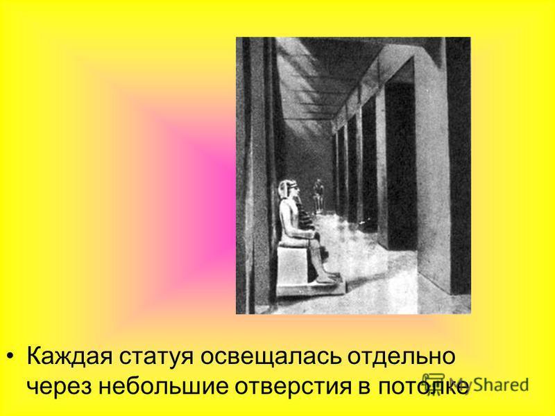 Каждая статуя освещалась отдельно через небольшие отверстия в потолке