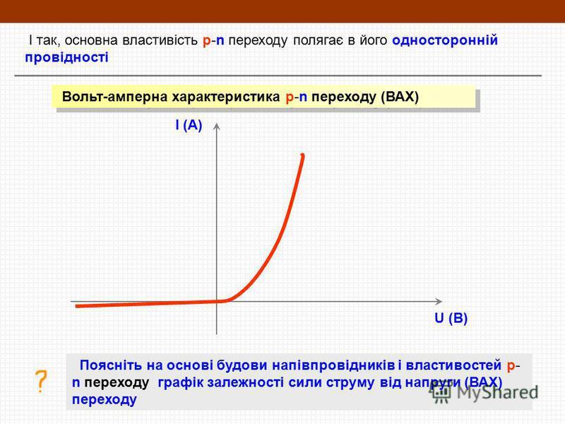 І так, основна властивість p-n переходу полягає в його односторонній провідності Вольт-амперна характеристика p-n переходу (ВАХ) I (A) U (В) Поясніть на основі будови напівпровідників і властивостей p- n переходу графік залежності сили струму від нап