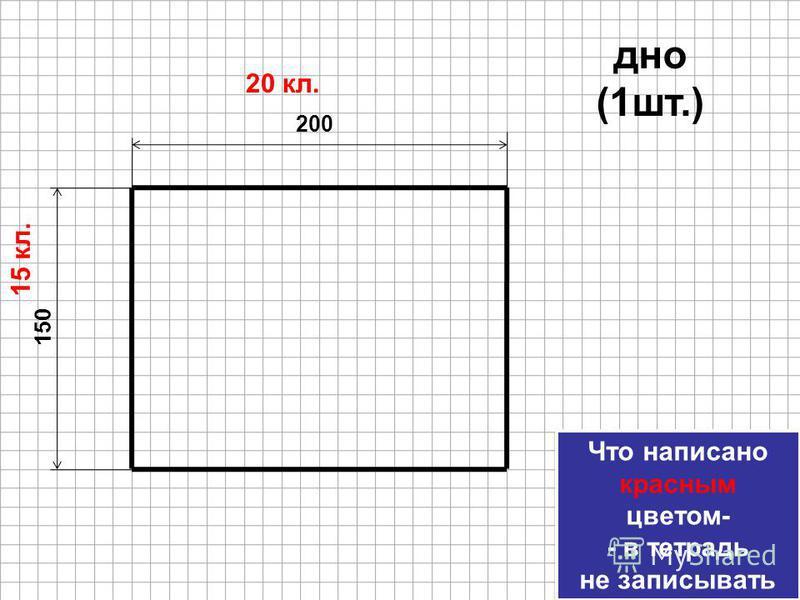 150 200 20 кл. 15 кл. дно (1 шт.) Что написано красным цветом- - в тетрадь не записывать Что написано красным цветом- - в тетрадь не записывать