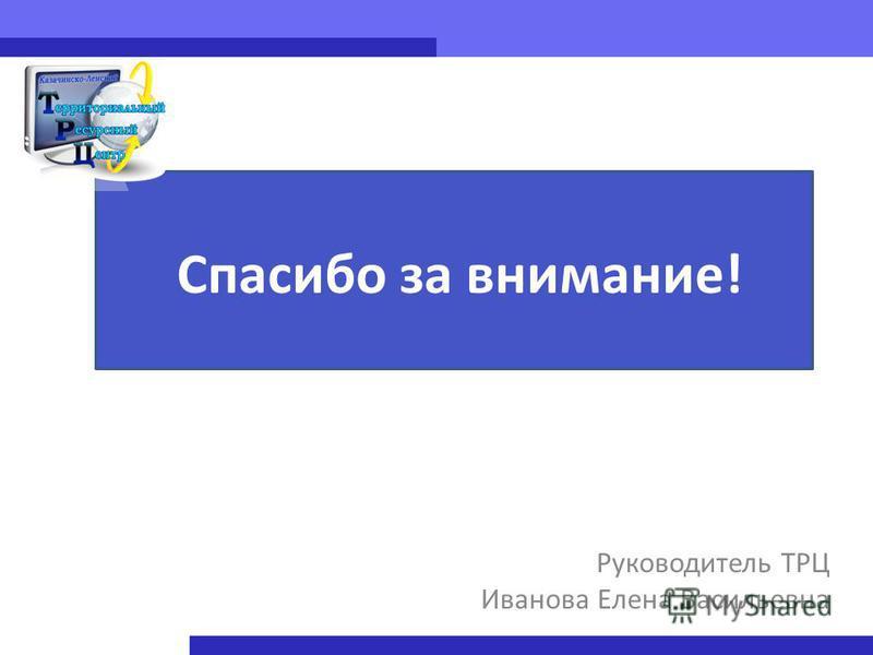 Руководитель ТРЦ Иванова Елена Васильевна Спасибо за внимание!