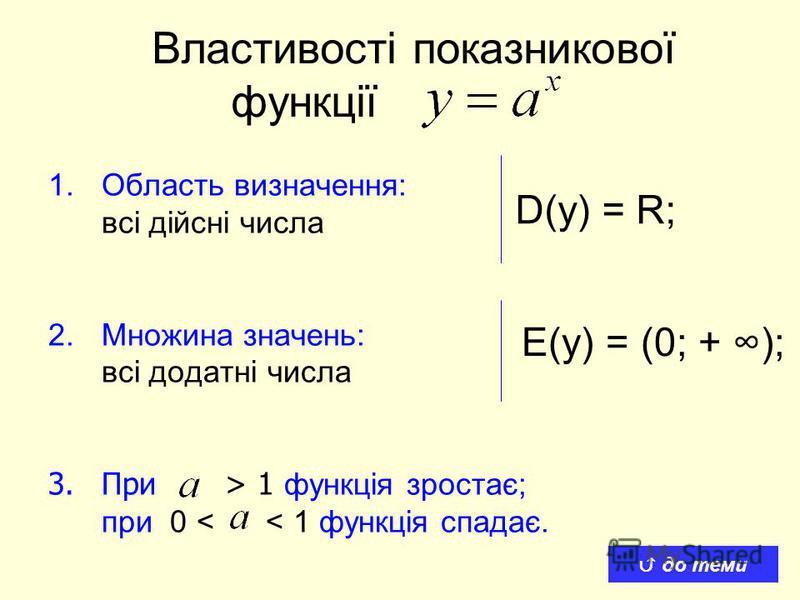 Властивості показникової функції 1.Область визначення: всі дійсні числа 2.Множина значень: всі додатні числа 3.При > 1 функція зростає; при 0 < < 1 функція спадає. D(y) = R; E(y) = (0; + ); до теми