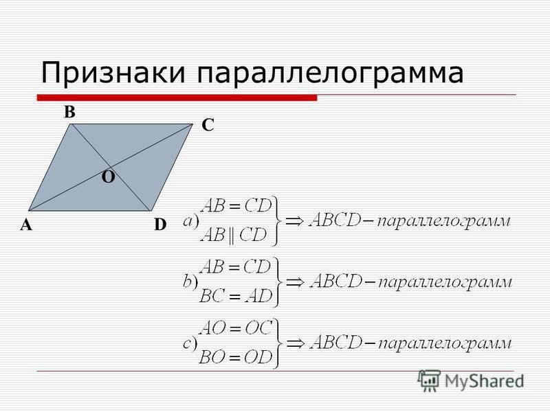 Признаки параллелограмма A B C D O