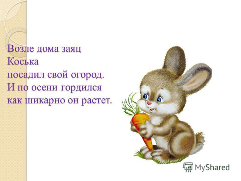 Возле дома заяц Коська посадил свой огород. И по осени гордился как шикарно он растет.