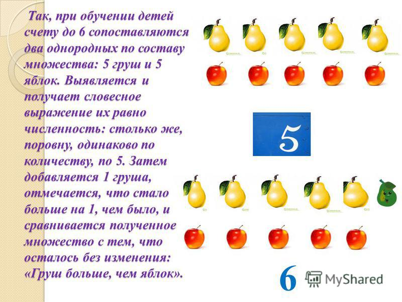 Так, при обучении детей счету до 6 сопоставляются два однородных по составу множества: 5 груш и 5 яблок. Выявляется и получает словесное выражение их равно численность: столько же, поровну, одинаково по количеству, по 5. Затем добавляется 1 груша, от