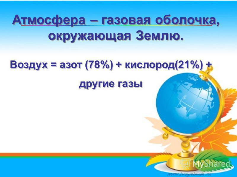 Атмосфера – газовая оболочка, окружающая Землю. Атмосфера – газовая оболочка, окружающая Землю... Воздух = азот (78%) + кислород(21%) + другие газы Воздух = азот (78%) + кислород(21%) + другие газы