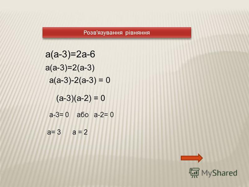 Розв'язування рівняння a(а-3)=2a-6 a(а-3)=2(a-3) a(а-3)-2(a-3) = 0 (а-3)(а-2) = 0 а-3= 0 або а-2= 0 а= 3 а = 2