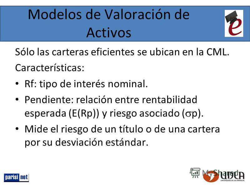 Modelos de Valoración de Activos Sólo las carteras eficientes se ubican en la CML. Características: Rf: tipo de interés nominal. Pendiente: relación entre rentabilidad esperada (E(Rp)) y riesgo asociado ( p). Mide el riesgo de un título o de una cart