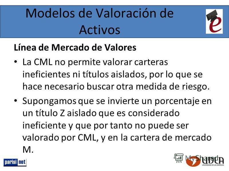 Modelos de Valoración de Activos Línea de Mercado de Valores La CML no permite valorar carteras ineficientes ni títulos aislados, por lo que se hace necesario buscar otra medida de riesgo. Supongamos que se invierte un porcentaje en un título Z aisla