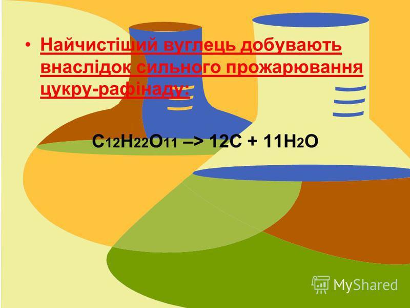 Найчистіший вуглець добувають внаслідок сильного прожарювання цукру-рафінаду: С 12 Н 22 О 11 –> 12С + 11Н 2 О