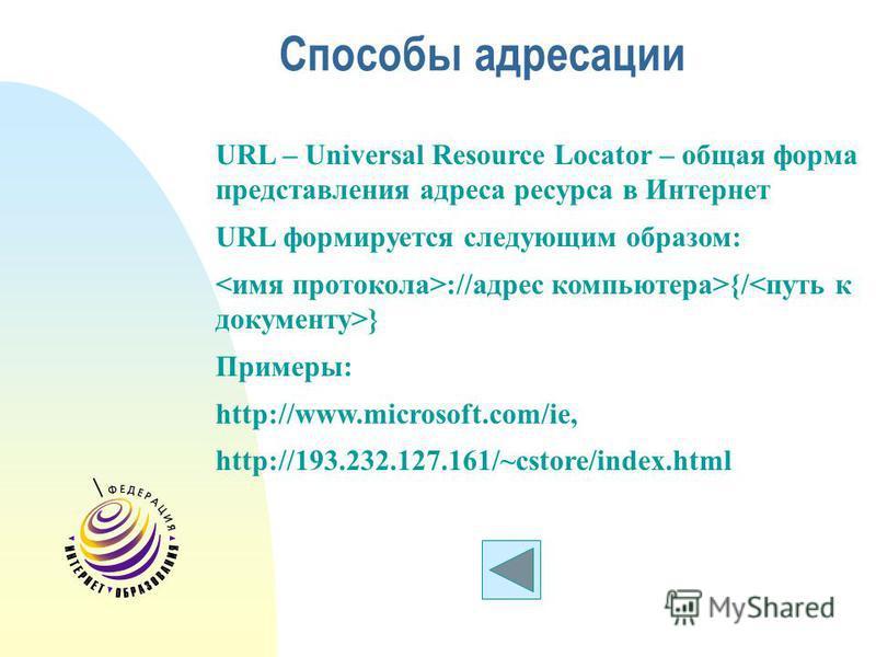 Способы адресации URL – Universal Resource Locator – общая форма представления адреса ресурса в Интернет URL формируется следующим образом: ://адрес компьютера>{/ } Примеры: http://www.microsoft.com/ie, http://193.232.127.161/~cstore/index.html