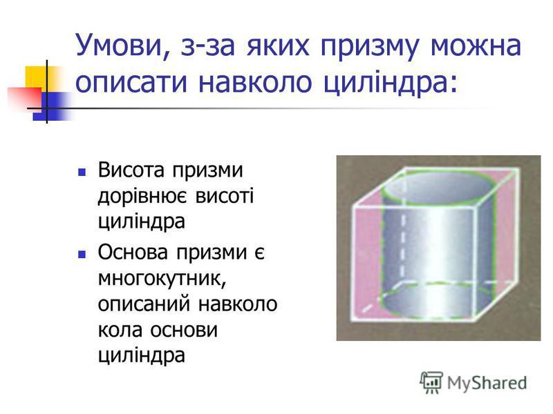 Умови, з-за яких призму можна описати навколо циліндра: Висота призми дорівнює висоті циліндра Основа призми є многокутник, описаний навколо кола основи циліндра