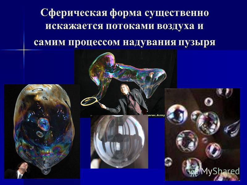 Сферическая форма существенно искажается потоками воздуха и самим процессом надувания пузыря Fтяж = mg