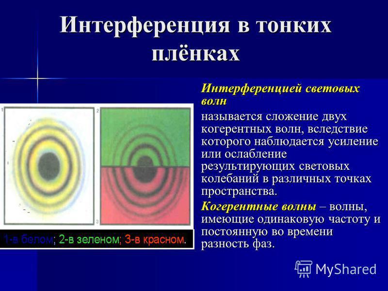 Интерференция в тонких плёнках Интерференцией световых волн называется сложение двух когерентных волн, вследствие которого наблюдается усиление или ослабление результирующих световых колебаний в различных точках пространства. Когерентные волны – волн