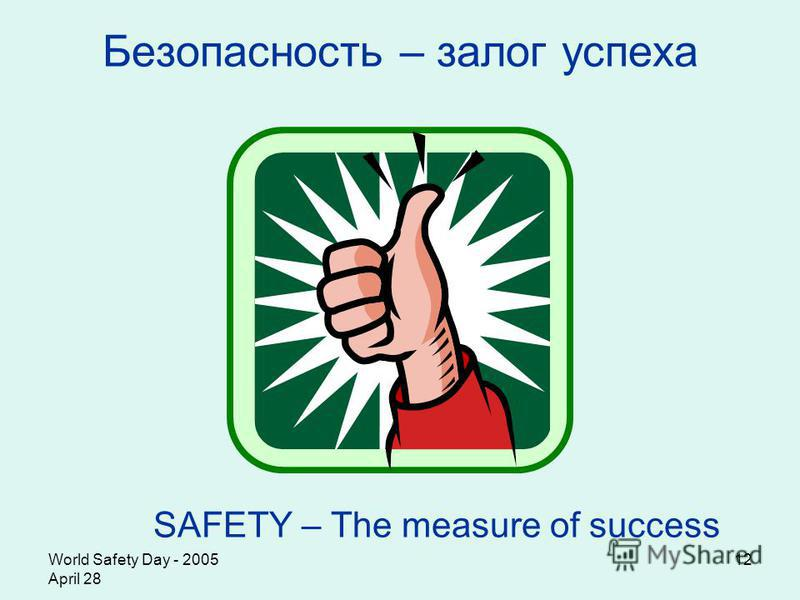 World Safety Day - 2005 April 28 12 Безопасность – залог успеха SAFETY – The measure of success