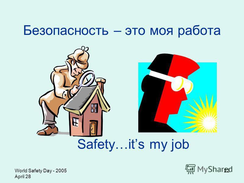 World Safety Day - 2005 April 28 22 Безопасность – это моя работа Safety…its my job