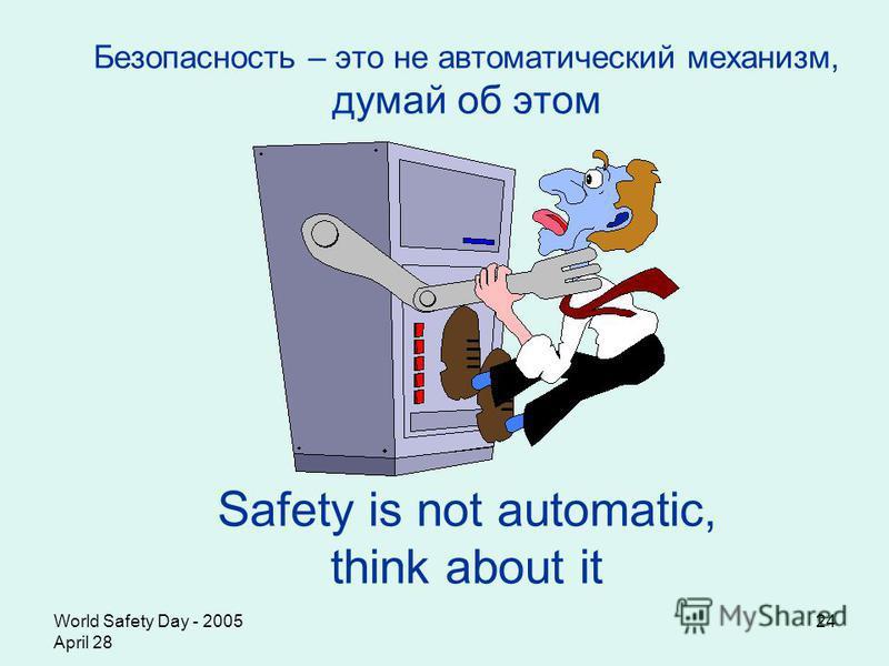 World Safety Day - 2005 April 28 24 Безопасность – это не автоматический механизм, думай об этом S afety is not automatic, think about it