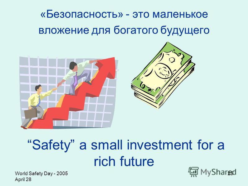 World Safety Day - 2005 April 28 25 «Безопасность» - это маленькое вложение для богатого будущего Safety a small investment for a rich future