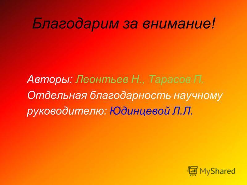 Благодарим за внимание! Авторы: Леонтьев Н., Тарасов П. Отдельная благодарность научному руководителю: Юдинцевой Л.Л.