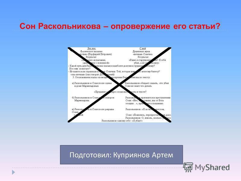 Сон Раскольникова – опровержение его статьи? Подготовил : Куприянов Артем