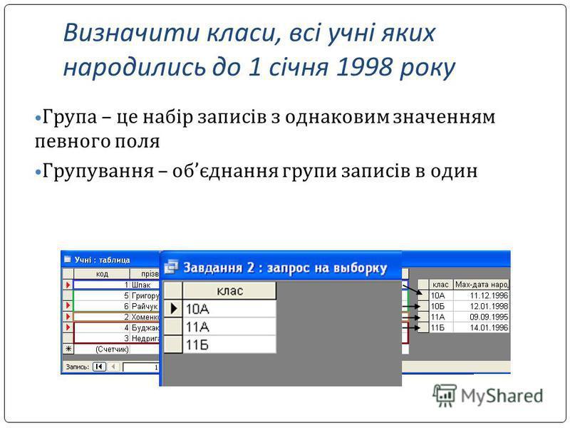 Визначити класи, всі учні яких народились до 1 січня 1998 року Група – це набір записів з однаковим значенням певного поля Групування – обєднання групи записів в один