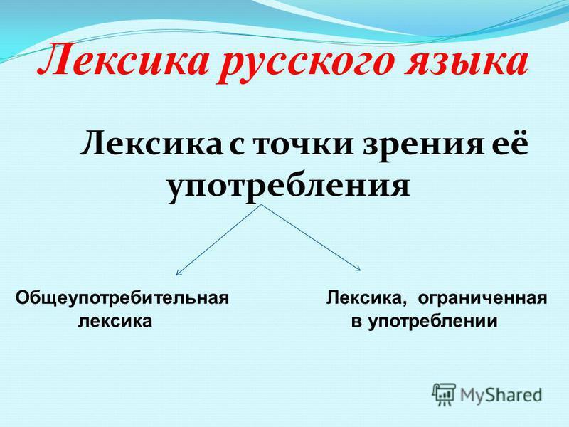 Лекиска русского языка Лекиска с точки зрения её употреблиния Общеупотребительная Лекиска, ограниченая ликиска в употреблинии