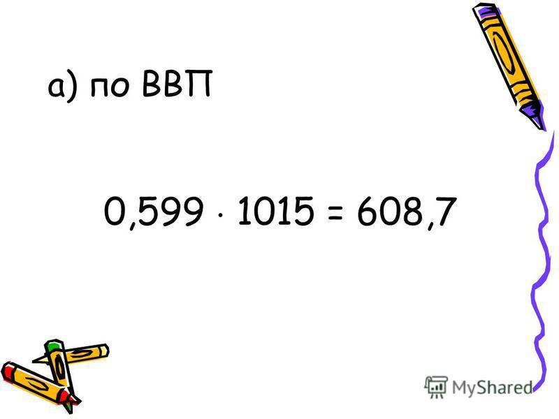 а) по ВВП 0,599 1015 = 608,7