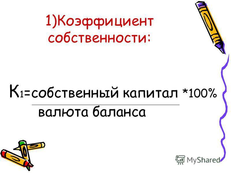 1)Коэффициент собственности: К 1 =собственный капитал *100% валюта баланса