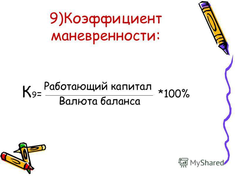 9)Коэффициент маневренности: К 9 = *100% Работающий капитал Валюта баланса