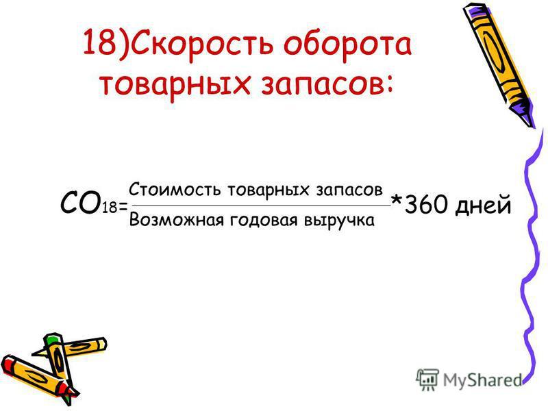 18)Скорость оборота товарных запасов: СО 18 = *360 дней Стоимость товарных запасов Возможная годовая выручка