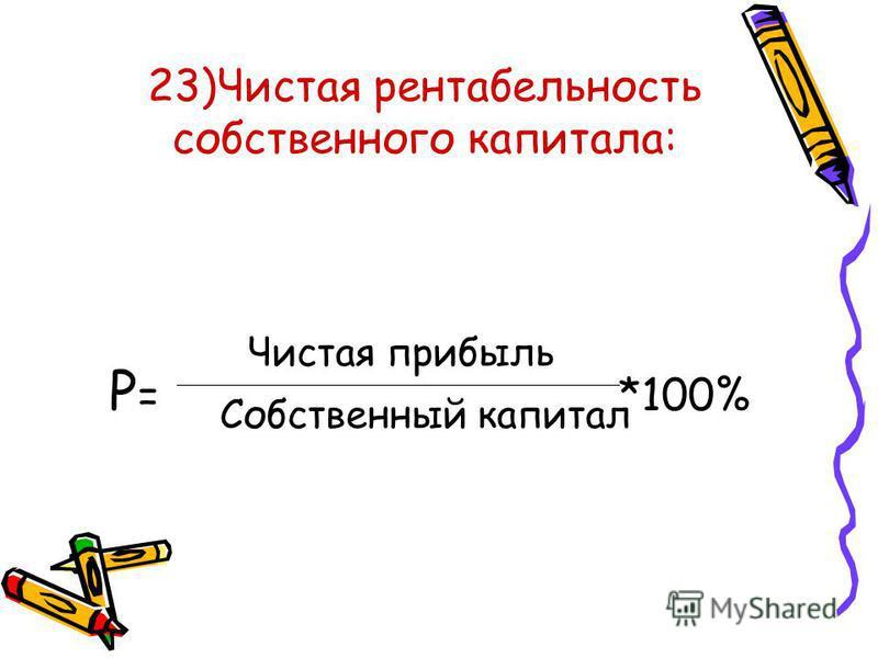 23)Чистая рентабельность собственного капитала: Р = *100% Чистая прибыль Собственный капитал