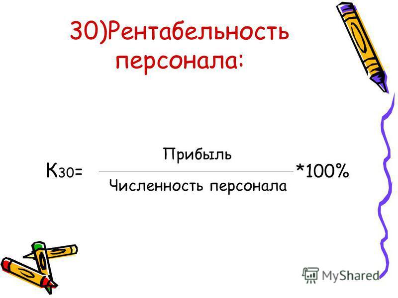 30)Рентабельность персонала: К 30 = *100% Прибыль Численность персонала