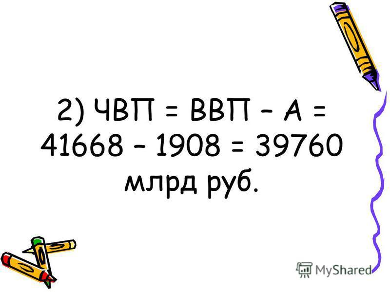 2) ЧВП = ВВП – А = 41668 – 1908 = 39760 млрд руб.