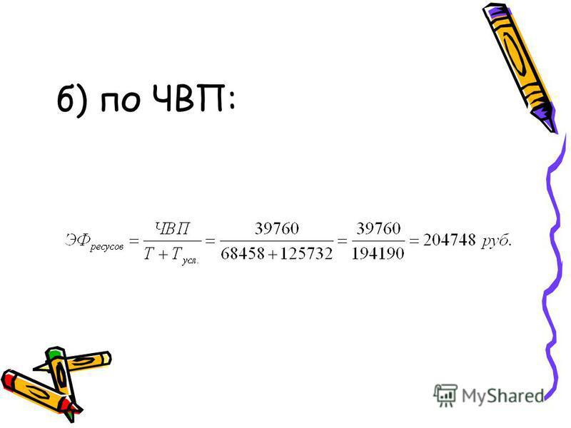 б) по ЧВП: