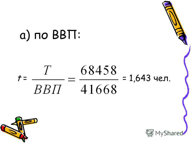 а) по ВВП: t = = 1,643 чел.